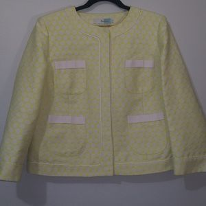 Boden cream & fluorescent yellow polka dot jacket